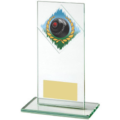 "Jade Glass Upright Award for Lawn Bowls - 16cm (6 1/4"")"