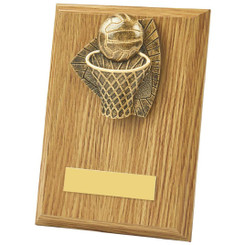 Light Oak Netball Wood Plaque Award - 15cm