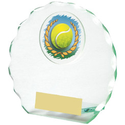 "Round Jade Glass Tennis Award - 11cm (4 1/4"")"