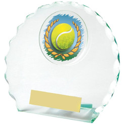 "Round Jade Glass Tennis Award - 12cm (4 3/4"")"