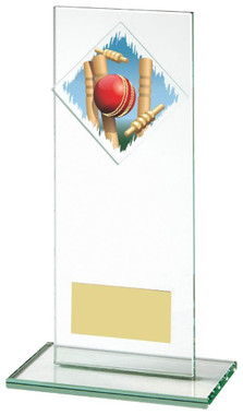"Jade Glass Upright Cricket Award with Colour Logo - TW18-070-379ZCP - 16cm (6 1/4"")"