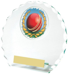 "Round Jade Glass Award for Cricket - TW18-070-382ZAP - 14cm (5 1/2"")"
