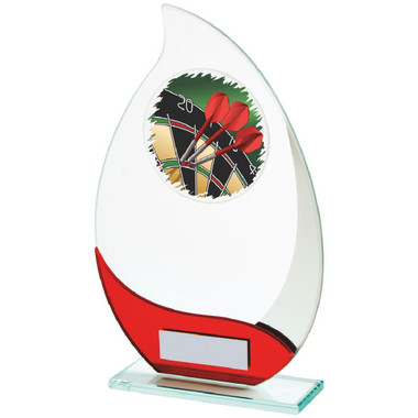 Jade/Red Glass Darts Award - 21cm