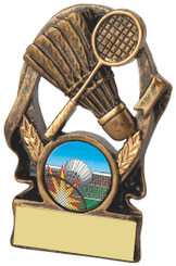 "Gold Resin Badminton Trophy - TW18-083-RS098 - 9cm (3 3/4"")"