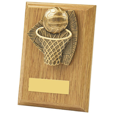 Light Oak Netball Wood Plaque Award - 13cm