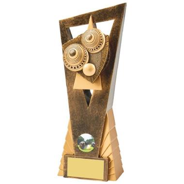 Antique Gold Lawn Bowls Edge Resin Award - 23cm