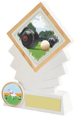"""White Resin Diamond Lawn Bowls Award - 14cm (5 1/2"""")"""