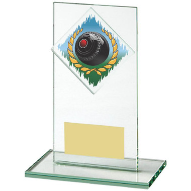 "Jade Glass Upright Award for Lawn Bowls - 14cm (5 1/2"")"