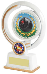 "White Resin Lawn Bowls Award - 16cm (6 1/4"")"