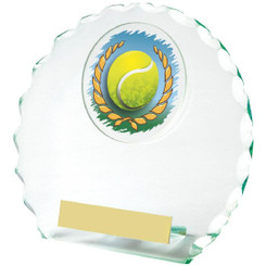 "Round Jade Glass Tennis Award - 14cm (5 1/2"")"