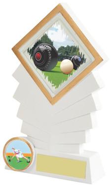 """White Resin Diamond Lawn Bowls Award - 16cm (6 1/4"""")"""