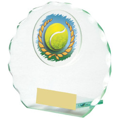 "Round Jade Glass Tennis Award - 10cm (4"")"