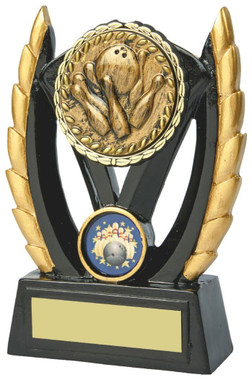 "Black & Gold Ten Pin Bowling Resin Award - TW18-093-828AP - 14.5cm (5 3/4"")"