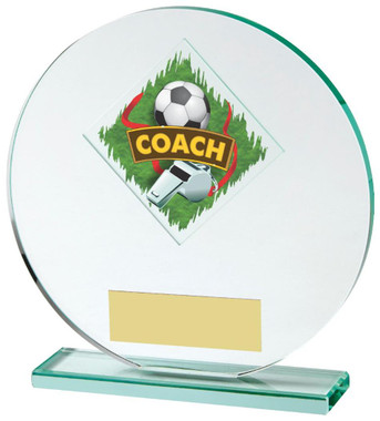 "Jade Glass Football Coach Award - 15cm (6"") - TW18-031-524ZAP"