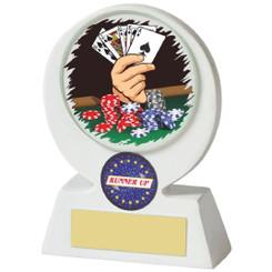 """White Resin Poker Award - 11cm (4 1/4"""")"""