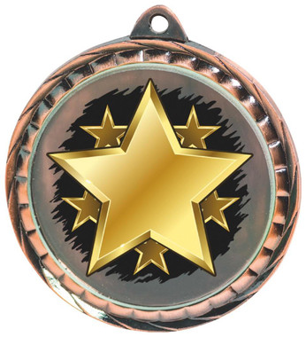 60mm Colour Print Sports Medal - Star - Bronze
