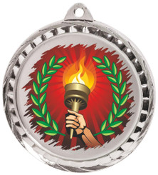 60mm Colour Print Sports Medal - Torch - Silver
