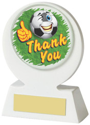 "White Resin Football 'Thank You' Award - 11cm (4 1/4"") - TW18-031-528ZAP"