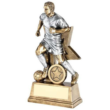 BRZ/GOLD MALE FOOTBALL FIGURE TROPHY - (1in CENTRE) 10in