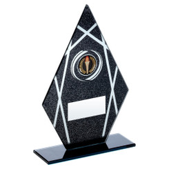 Black/Silver Printed Glass Diamond Plaque On Black Base Trophy (1In Centre) - 6.