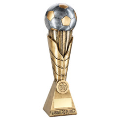 Brz/Pew/Gold Football On Leaf Burst Column Trophy (1In Centre) - Managers Player