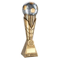 Brz/Pew/Gold Football On Leaf Burst Column Trophy (1In Centre) - Most Improved -