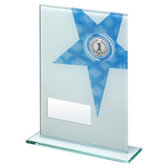 White/Blue Printed Glass Rectangle With Large Star Trophy (1In Centre) - 6.5In