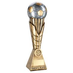 Brz/Pew/Gold Football On Leaf Burst Column Trophy (1In Centre) - Parents Player