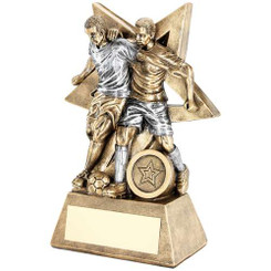 BRZ/GOLD FOOTBALL ON 3 PRONGED RISER TROPHY - (1in CENTRE) 9.75in