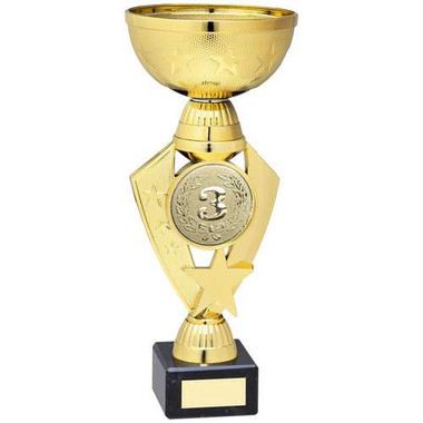 Gold Total Plastic Star Trophy - (2In Centre) - 9In