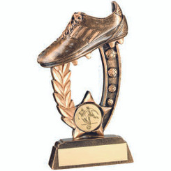 Brz/Gold Resin Raised Football Boot Trophy -  (1In Centre) 5.25In