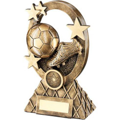 Brz/Gold Football Oval/Stars Series Trophy -  (1In Centre) 7.25In