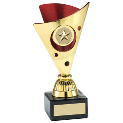 Gold/Red Tri-Dot Trophy (1In Centre) - 7In