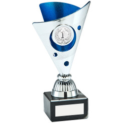 Silver/Blue Tri-Dot Trophy (1In Centre) - 6In