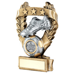 Brz/Pew/Gold Football 3 Star Wreath Award Trophy (1In Centre) - 7.5In