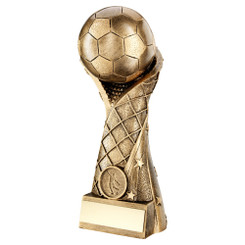 Brz/Gold Football On Star Net Riser Trophy (1In Centre) - 11In