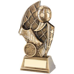 Brz/Gold Football Curved Plaque Trophy - (1In Centre) 6In