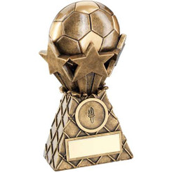 Brz/Gold Football And Stars Net Burst Trophy - (1In Centre) 6In