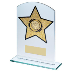 Jade Glass Arched Rectangle With Gold Glitter Star Trophy (1In Centre) - 8In