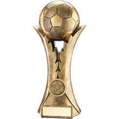 Brz/Gold Football On Leaf Column Trophy (1In Centre) - 10.25In