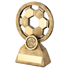 BRZ/GOLD FEMALE FOOTBALL FIGURE ON CROSSED STARS TROPHY - (1in CENTRE) 6in