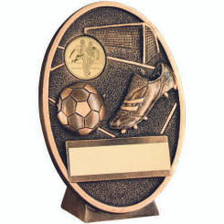 Brz/Gold Football And Boot Oval Plaque Trophy - (1In Centre) 5In