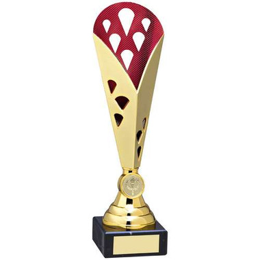 Gold/Red Tall Plastic Triangle Trophy - (1In Centre) - 10.5In