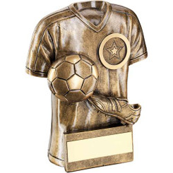 Brz/Gold Football Trophy Shirt With Boot/Ball Trophy - (1In Centre) 4In