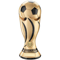 BRZ/GOLD RESIN ROUND FOOTBALL/BOOT/STARS TROPHY - (1in CENTRE) 4.25in