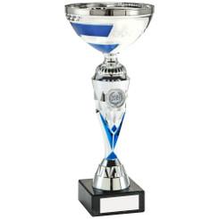 Silver/Blue Diamond V-Stem Trophy (1In Centre) - 11In