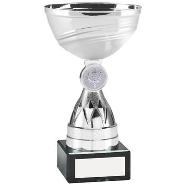Silver Mini Diamond Stem Trophy (1In Centre) - 6In