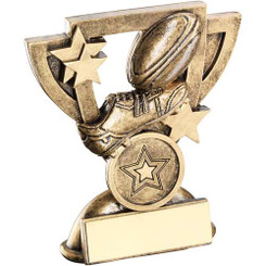 Brz/Gold Rugby Mini Cup Trophy - (1In Centre)  4.25In