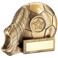 JADE GLASS FOOTBALL PLAQUE TROPHY - 7.75in