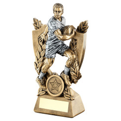BRZ/GOLD RUGBY 'QUARTZ' FIGURE TROPHY - (1in CENTRE) 7in